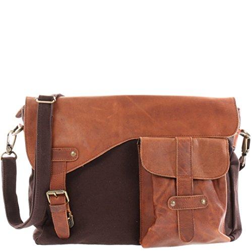LECONI Messenger Bag DIN A4 Leder Canvas Damen & Herren Schultasche Retro look Collegetasche Umhängetasche 38x28x12cm braun mokka LE3032-C