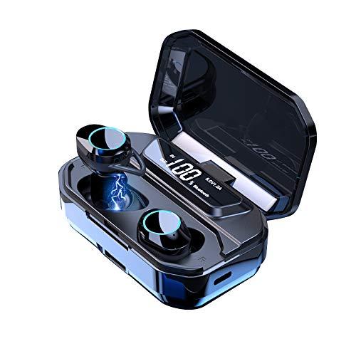 HAMTOD G02 Pro Auriculares Bluetooth 5.0, con Micrófono 6D Sonido Control Tactil, Compatible con iOS, Android, Windows, con un Estuche de Carga de 3300mAh. 20 Metros de Distancia de conexión Bluetooth