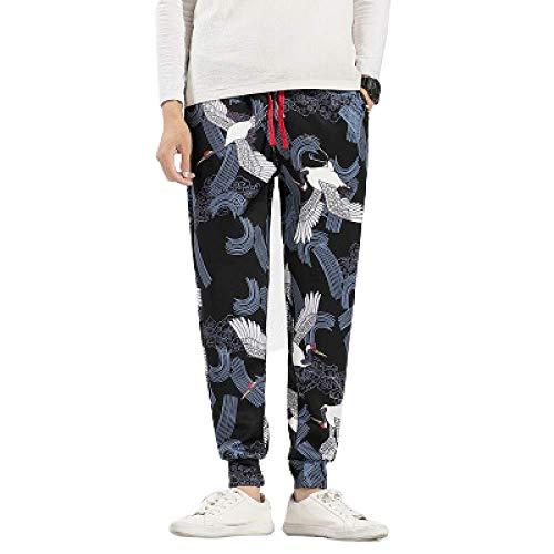 Preisvergleich Produktbild N / A Herrenmode Hosen im chinesischen Stil gedruckt einfarbig lässig Hosen Retro Kordelzug elastische Taille Füße Sporthose
