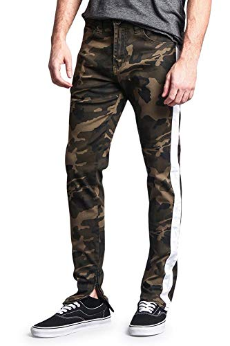 Victorious Men's Trackpants Style Side Stripe Pants with Ankle Zipper