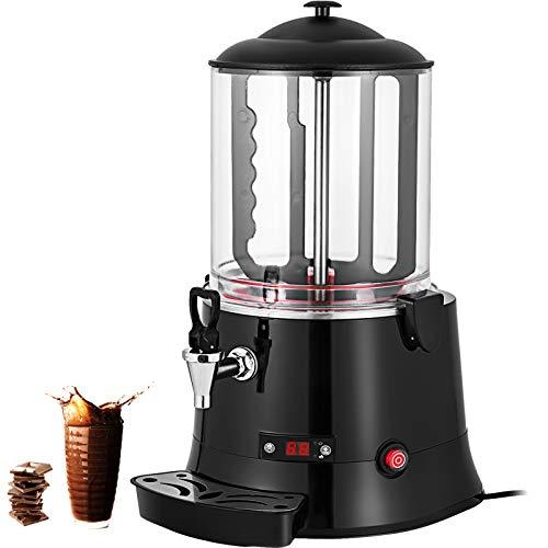 VEVOR Machine à Chocolat Chaud 10L Distributeur Chocolat Chaud Professionnel 400W Chocolatière Pro 30-60℃ Distributeur LED avec Plateau Égouttoir pour Boisson Chaude Café Lait Soja Maison Restaurant