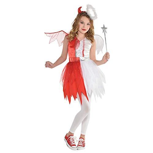 amscan 9904739 Disfraz de ángel y diablo con varita para niñas de 8 a 10 años, 1 unidad