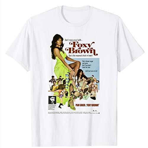 Cool Foxy Brown Pam Grier Blaxploitation Movie Poster Tee Funny Gift for Men Women Girls Unisex T-Shirt (White-S)