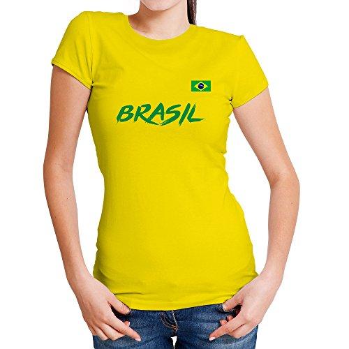 LolaPix Camiseta seleccion de fútbol Personalizada con Nombre y número. Camiseta de algodón para Mujer. Elige tu seleccion. Brasil