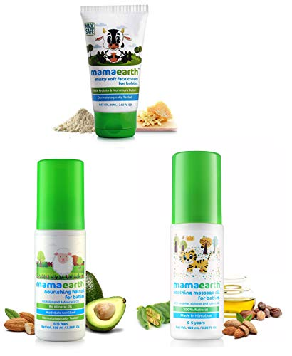 Mamaearth Milky Soft Natural Baby Face Cream for Babies 60mL & Nourishing Baby Hair Oil with Almond & Avocado, 100ml & Soothing Massage Oil 100% Natural Oils for Babies and Kids,100ml