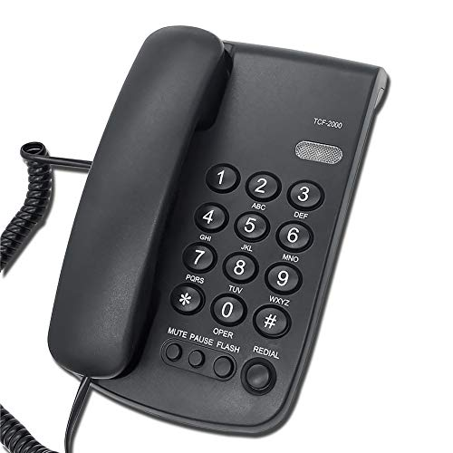 HePesTer Corded Phone with Redial & Mute Function, Business Desk Landline Phone with Safety Lock (Black)