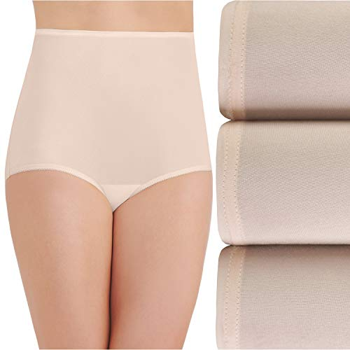 Vanity Fair Women's Perfectly Yours Ravissant Tailored Nylon Brief (Pack of 3),Fawn,Large/7
