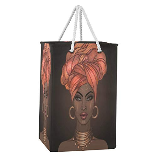 Rxyy - Cesto plegable para ropa sucia para niña afroamericana (75 L, tela de nailon, con asas de algodón extendidas para ropa y juguetes