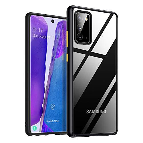 Amazon Brand - Eono Hybrid Clear für Samsung Galaxy Note 20 Hülle (Nur für Note 20), Transparent [Anti-Gelb] Dünne Samsung Note 20 Hülle Stoßfest Silikon Handyhülle - Schwarz