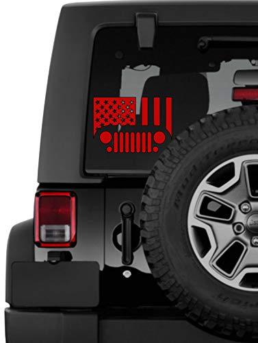 Lplpol Premium Anti Staub Vinyl Aufkleber Jeep Flagge Aufkleber Americana Decal Geschenk Autoaufkleber Stars and Stripes 4th of July Present United States America Laptop Grill Trump 6 Zoll