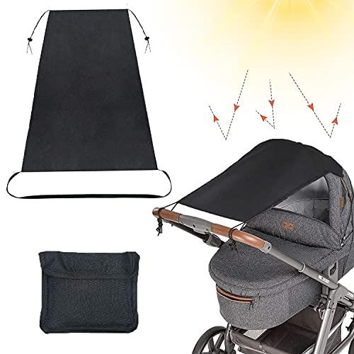 Kinderwagen Sonnenschutz, Babysonnensegel, Universal Sonnensegel für Babys mit Tasche, Kinderwagen Sonnendach mit UV Schutz 50+ und Rollo-Funktion, Baby Zubehör ideal auf Reisen -...