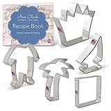 Ann Clark Cookie Cutters Juego de 5 cortadores de galletas cosas salvajes con libro de recetas, corona, velero, palmera, pijama de bebé y cuadrado