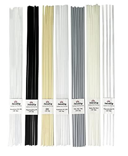 "JOUNJIP Plastic Welding Rods- 7 Types of Welding Plastic (PP PU ABS PE TPO PA PC) Most Common Plastics- For Use With Jounjip Plastic Welding Kit- 52 Pack of 13"" x 1/8"" Dia"