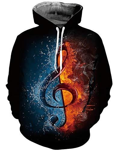 AIDEAONE - Sudadera con capucha para hombre y mujer, impresión 3D, ligera, talla S a 3XL Música S-M