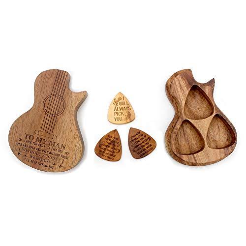 BiJun Wood Guitare d' Pick Box, Médiateur Plectre Basse Électrique Acoustique,Accessoires Pièces Guitare...