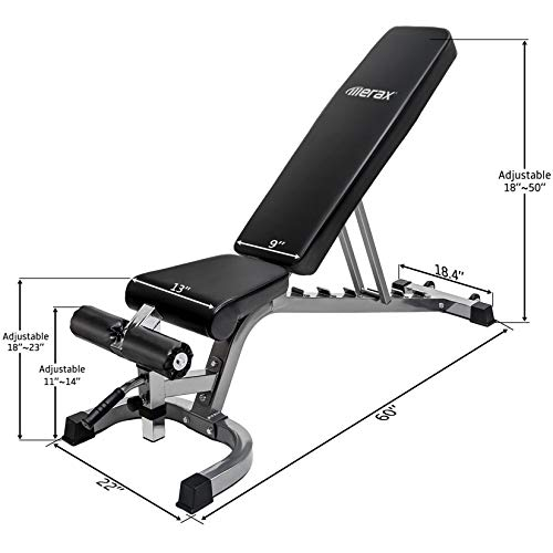 Merax Weight Bench 800 LBS Capacity, Incline Decline Exercise Utility Bench Adjustable 7+4 Positions for Multi-Purpose Workout