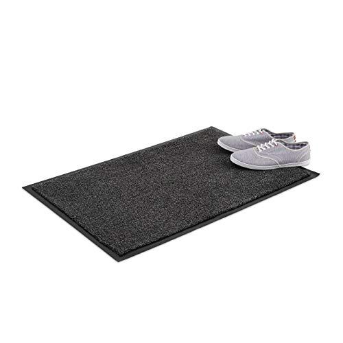 Relaxdays vuilvangmat grijs, voetmat binnen, vuilmat groot, voetmat dun, deurmat 60x90 cm, zwart-grijs