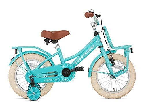 POPAL SuperSuper Cooper Kinder Fahrrad für Kinder | Mädchen Fahrrad 14 Zoll ab 3-5 Jahre| Kinderrad met Stützrädern | Turquoise