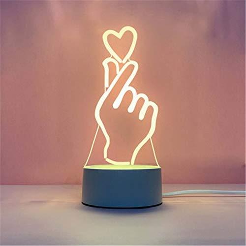 Fósforo Explosión 3d luz nocturna creativa dormitorio pequeño lámpara de mesa led regalo mesa lámpara usb luz de noche, Acrílico + ABS., B (Amor), 4*1.6IN