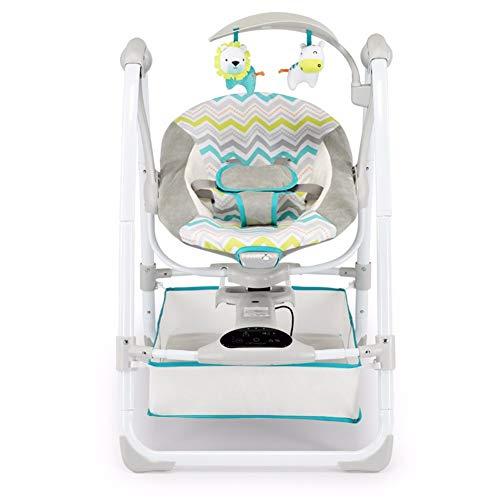 HSTD Mecedora Bebe, Hamaca Bebe Plegable, Hamaca de Inducción Magnética, Columpio y Agitador, Acolchado Suave/ultra Silencioso/Modo Automático/Panel Control Táctil/Fuente de Alimentación de 2 Vías Blu