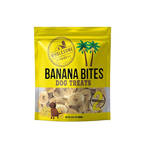 Wholesome Pride Banana Bites Dog Treats, 8 oz - All Natural Healthy - Vegan, Gluten and Grain-Free Dog Snacks