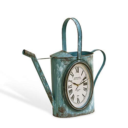 Loberon Uhr Mayan, Eisen, MDF, H/B/T ca. 36.5/49 / 17 cm, antikgrün