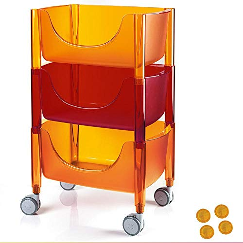 3 Nivel Carrito Frutero con Ruedas, Plástico Estanterías Cocina para El Hogar/Oficina/Dormitorios