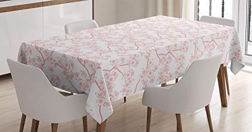 ABAKUHAUS La Nature Nappe, Printemps Cerise Flourish, Linge de Table Rectangulaire pour Salle à Manger Décor de Cuisine, 140 cm x 240 cm, Corail Blanc