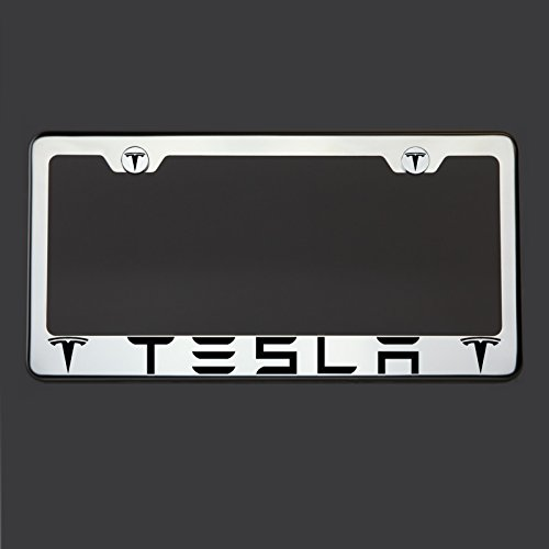 Circle-Cool-One-Laser-Engraved-Black-Fit-Tesla-Mirror-Stainless-Steel-License-Plate-Frame-Holder-Front-Or-Rear-Bracket-Steel-Screw-Cap