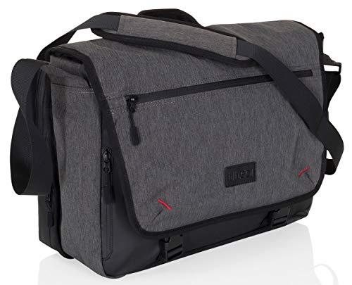 hjh OFFICE 770001 2 in 1 Umhängetasche 16 Zoll Unite II Stoff Grau/Schwarz XL Business Laptop-Tasche Messenger Bag mit Gurt