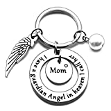 N/X Mom Memorial Keychain Gift Loss of Mother Jewelry I have a guardian Angel in heaven I call her Mom Keychain Sympathy for Remembrance Memory Gifts, Silver, Small
