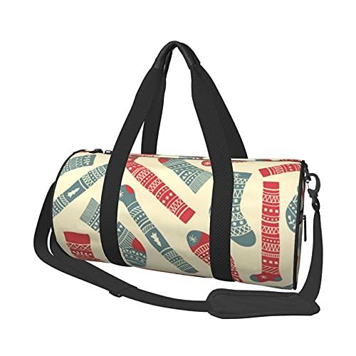 Bolsa de deporte de viaje, calcetines de Navidad, bolsa de equipaje de mano, ligera, plegable, bolsa de gimnasio para hombre y mujer