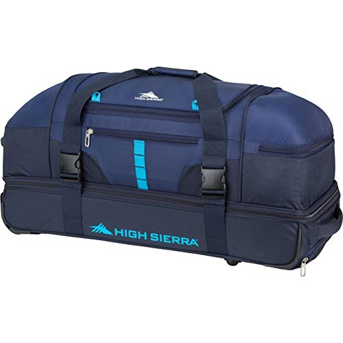 High Sierra Evolution Drop Bottom Rolling Duffel Bag, True Navy/Midnight/Pool, 30-Inch Nebraska