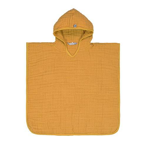 LÄSSIG 1312019837 - Toalla con capucha para bebé (muselina, poncho, con embalaje para ventana, 220 g), color amarillo