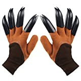 Garden Genie Gloves with Claws, Waterproof and Breathable Garden Gloves for Digging Planting, Best Gardening Gifts for Women and Men (Brown Claw 1 Pairs)