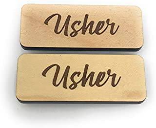 Fisharply Pin-on Usher Tags (Maple, 2-Pack) | Laser Engraved Usher Name Tags on Real Maple, Cherry, or Walnut Hardwood
