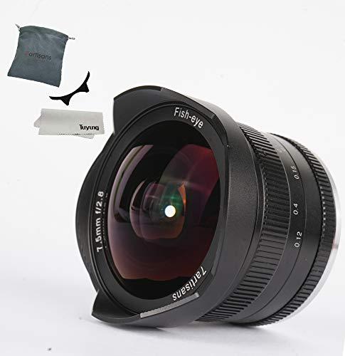 7artesanos 7,5mm F2.8Manual Lente de ojo de pez para Panasonic Olympus Micro cuatro tercios MFT M4/3Cámaras con tapa de objetivo, parasol desmontable, color negro