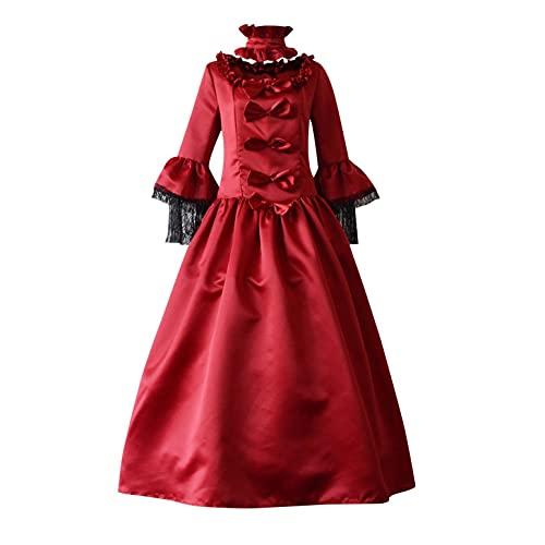 FUNEY Womens Halloween Gown Dresses Petal Long Sleeve Retro Gothic Dress Plus Size Floor Length Cosplay Elegant Long Dress Red
