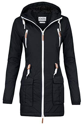 Sublevel Damen Matilda Winter Jacke Parka Mantel Winterjacke gefüttert mit Kapuze 6 Farben XS-XL Black S