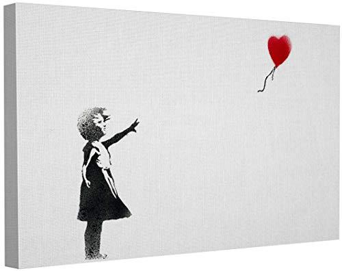 Banksy Bilder Leinwand Balloon Girl Graffiti Street Art Leinwandbild Fertig Auf Keilrahmen Kunstdrucke Wohnzimmer Wanddekoration Deko XXL (60x100cm(23.6x39.4inch))