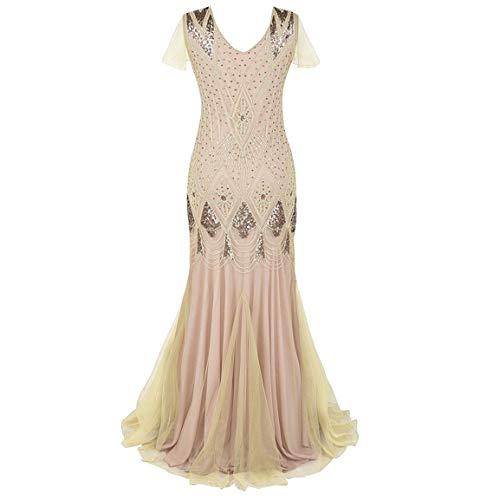 Frauen bodenlangen Kleid Damen Vintage 1920er Jahre Fransen Pailletten Spitze Party Flapper Mantel Cocktail Prom Friesen Kleid Moonuy