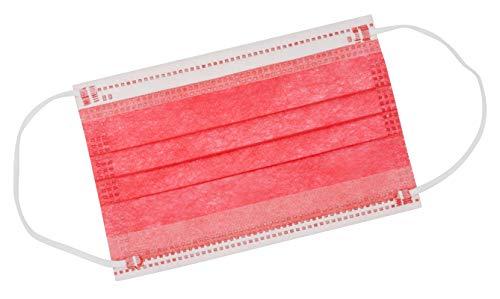 TBOC Mascarilla Higiénica Niños No Reutilizable - [Pack 30 Unidades] 3 Capas [Color Rojo Coral]