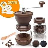 Amazy manuelle Kaffeemühle inkl. Extra-Behälter + 16 Schablonen + Bambuslöffel – Handbetriebene Mühle mit Keramikmahlwerk für feinsten, frischgemahlenen Kaffee (Braun)