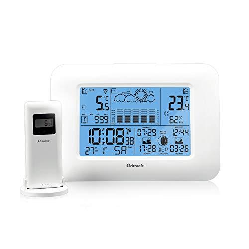 Oritronic Wetterstation Funk mit Außensensor, Wetterstationen innen und außentemperatur Funk mit Außensensor, digital Hygrometer für Innen, betrieben Uhr mit Thermometer(Weiss)