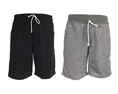 KIT 2 Bermuda Masculina Shorts Moletom Academia Fitness (PRETO-CINZA, M)