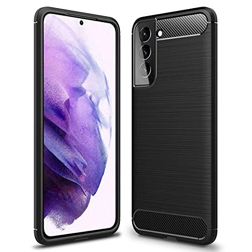 NALIA Design Hülle kompatibel mit Samsung Galaxy S21 Plus Hülle, Carbon Erscheinungsbild Stylische Handyhülle Stoßfeste Silikon Schutzhülle, Dünne Handy-Tasche Phone Cover Bumper Soft TPU Etui Kratzfest - Schwarz