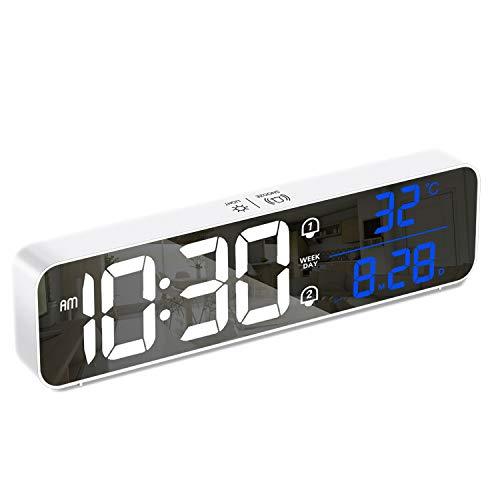 HOMVILLA Despertador,Despertador Digital con Pantalla grande, temperatura, repetición, Snooze, alimentado por USB con 2 alarmas, 40 tonos de llamada, 12/24 horas ajustables