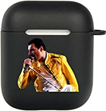 Freddie Mercury Airpods Case, Flexible Silicone Cover for Airpods 2&1, Shockproof Protective TPU Airpod Cases with Keychain Compatiable Wireless Charging