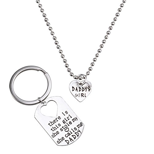 VALICLUD Vater Tochter Keychain & Daddy s Girl Halskette Set Theres This Girl Who Stole My Heart She Calls Me Daddy Geschenke from Daughter