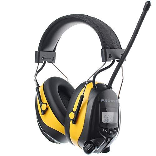 PROTEAR Gehörschutz mit Radio FM/AM,MP3-kompatibel,für Werkstatt, Industrie, BAU Garten und Mähen Lärmreduzierung,SNR 30dB Yellow